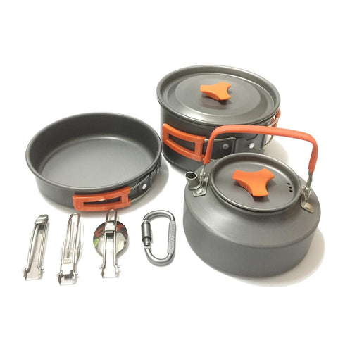 Camping Pot with Pan Dining Bowl Spoon Pot & Pan 13pcs Lightweight-Outdoor Gear-Weekly Top Deal