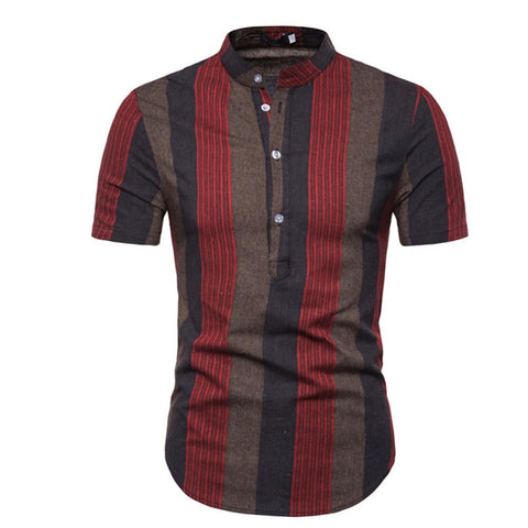 Casual Cotton Shirt - Striped Standing Collar-Men-Weekly Top Deal