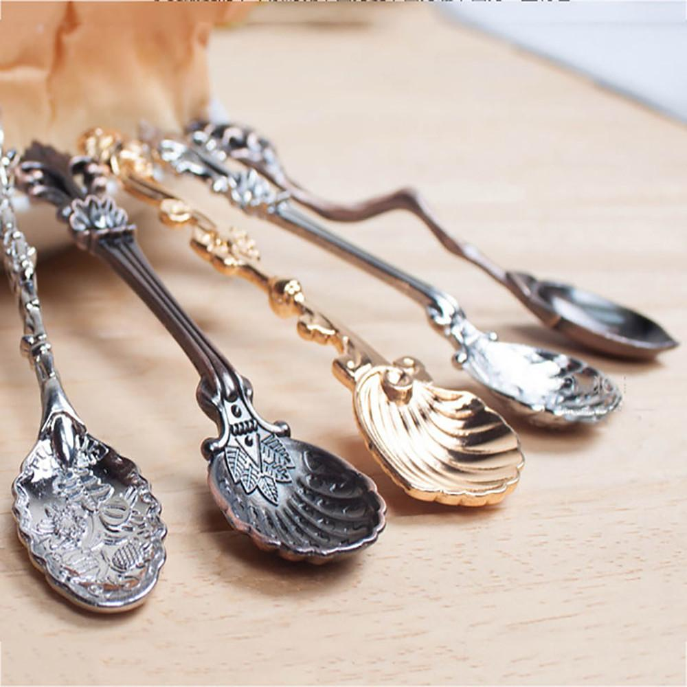 Decorative Dessert Spoon Icecream Scoop Stirring Rod Teaspoons Small Vintage Style Random Type-Home Collection-Weekly Top Deal