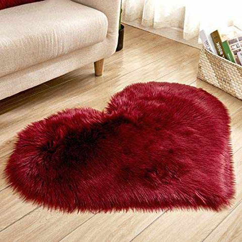 FAUX FUR HEART SHAPED CARPET-Home Collection-Weekly Top Deal