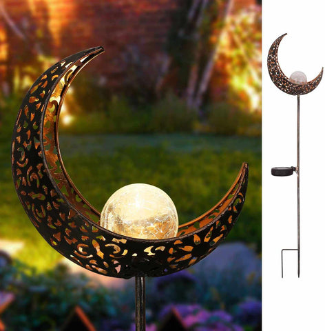 Garden Solar Lights Pathway Outdoor Moon Crackle Wrought Iron&Glass Globe Stake-Home Collection-Weekly Top Deal