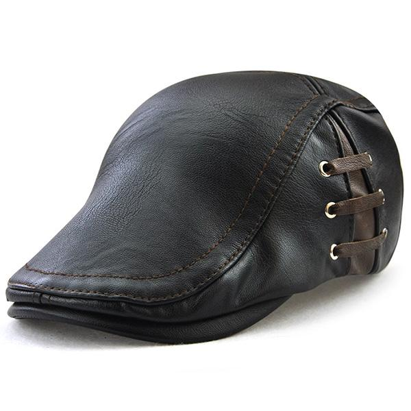 Lace Up Design Faux Leather Flat Hat-Men-Weekly Top Deal