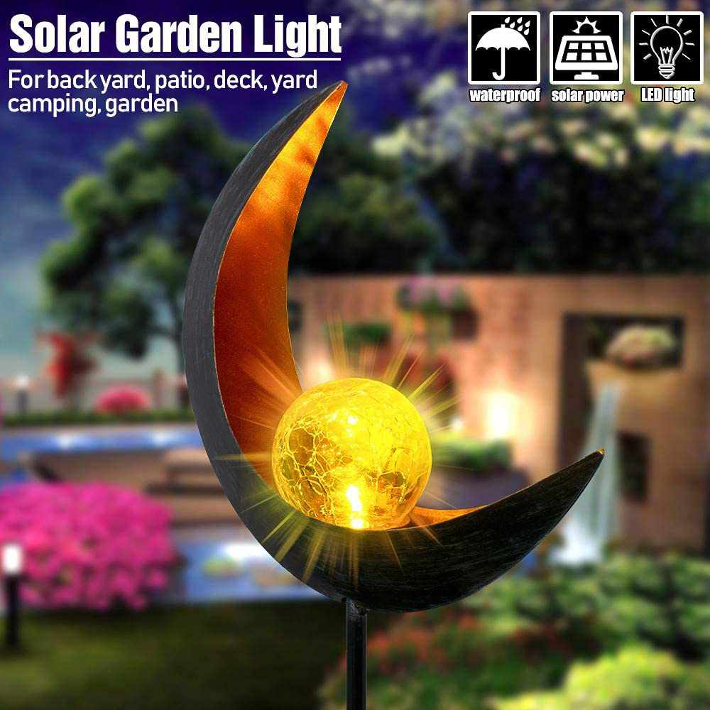 LED Garden Solar Lights Pathway Outdoor Moon Crackle Glass Globe Stake Lights-Home Collection-Weekly Top Deal