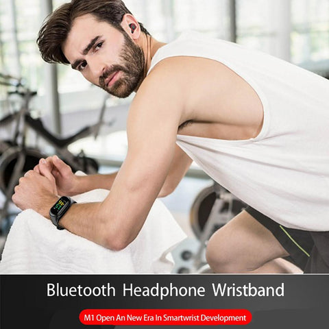 M1 Smart Wristband with TWS True Wireless Earbuds BT Fitness Tracker Support-Electronic-Weekly Top Deal