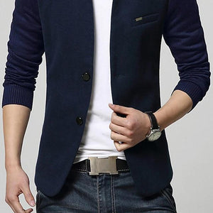 Men's Casual Blazer, Solid Colored Stand Long Sleeve-Men-Weekly Top Deal