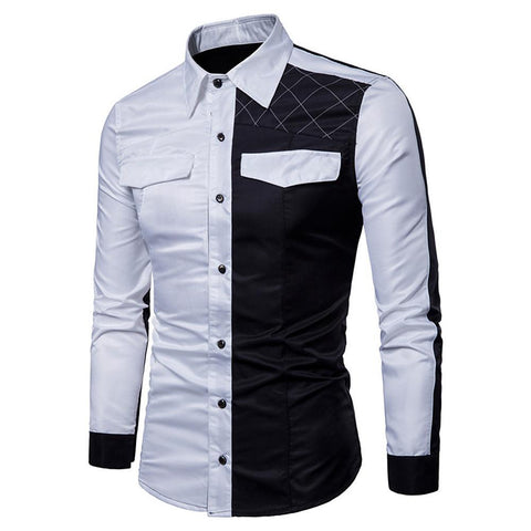 Men's Casual Chinoiserie Cotton Shirt - Solid Colored Black & White Round Neck-Men-Weekly Top Deal