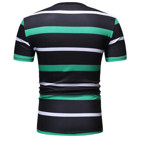 Men's Casual T-shirt - Plaid Round Neck Green-Men-Weekly Top Deal