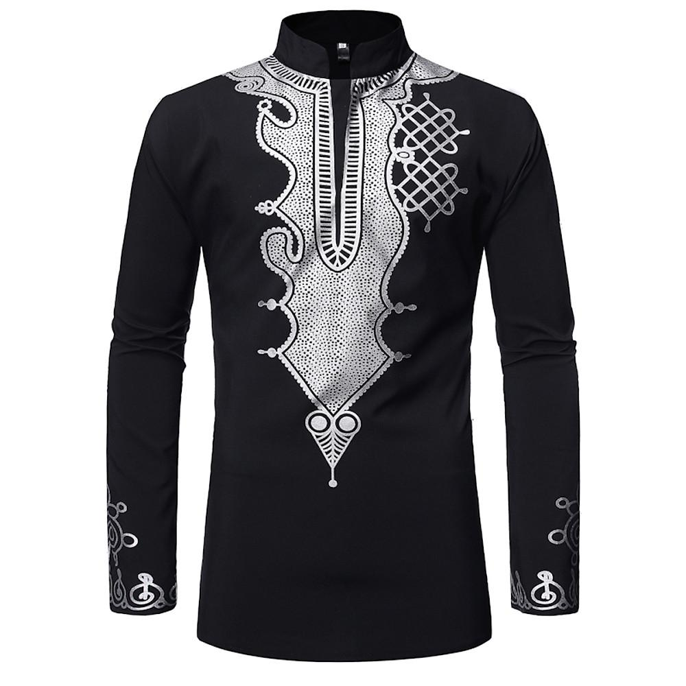 Men's Cotton Shirt - Tribal Print Round Neck-Men-Weekly Top Deal