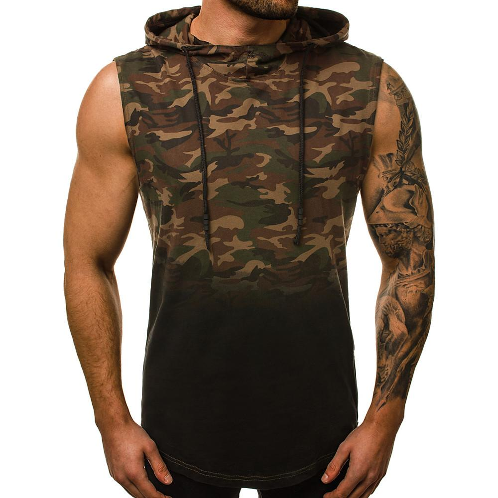 Men's Cotton Slim Tank Top - Camo / Camouflage Print Hooded Gray-Men-Weekly Top Deal
