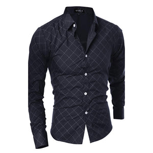 Men's Daily Active Cotton Shirt - Striped / Geometric Standing Collar-Men-Weekly Top Deal