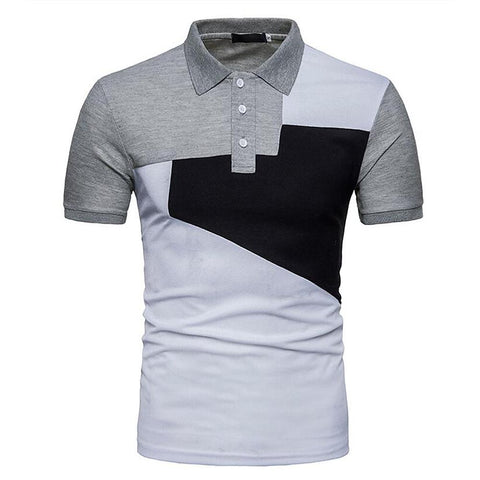 Men's Daily Basic T-shirt - Color Block Print Shirt Collar White / Short Sleeve-Men-Weekly Top Deal