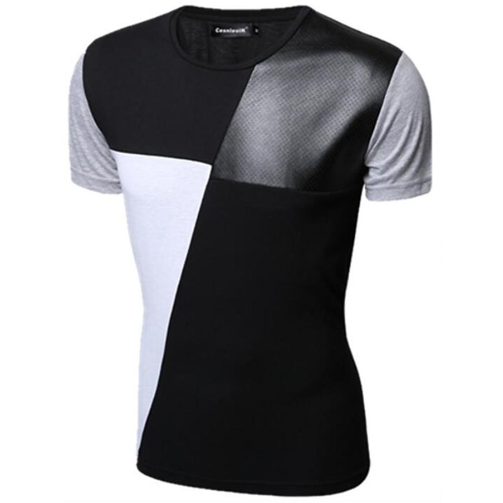 Men's Daily Basic T-shirt - Color Block Round Neck White / Short Sleeve-Men-Weekly Top Deal