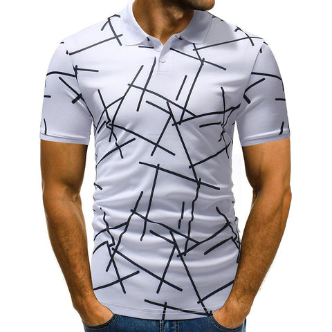 Men's Daily Cotton Slim T-shirt - Geometric Print Shirt Collar White / Short Sleeve-Men-Weekly Top Deal