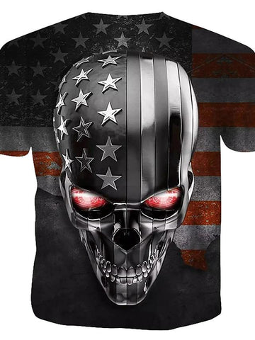 Men's Daily Cotton T-shirt - 3D / Skull Print Round Neck Rainbow / Short Sleeve-Men-Weekly Top Deal