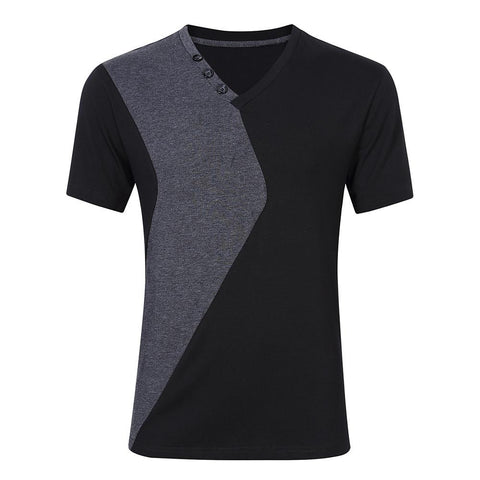 Men's Daily Daily Wear T-shirt - Color Block V Neck Gray / Short Sleeve-Men-Weekly Top Deal