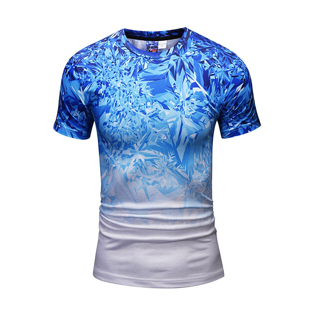 Men's Daily Going out Active / Punk & Gothic T-shirt Print Round Neck Blue / Short Sleeve / Spring / Summer-Men-Weekly Top Deal