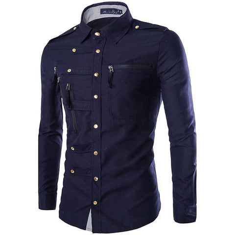 Men's Daily Military Slim Shirt - Solid Colored Basic Classic Collar-Men-Weekly Top Deal