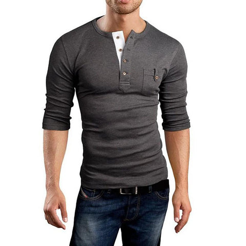 Men's Daily Sports Weekend Slim T-shirt - Solid Colored V Neck Navy Blue / Long Sleeve-Men-Weekly Top Deal