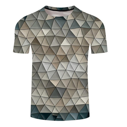 Men's Daily T-shirt - Geometric Print Round Neck-Men-Weekly Top Deal
