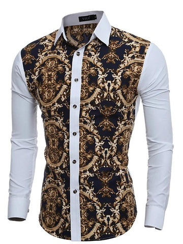 Men's Daily Vintage Slim Shirt - Tribal Patchwork Classic Collar-Men-Weekly Top Deal