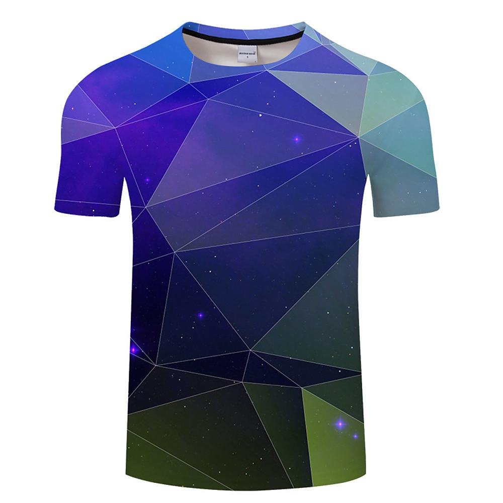 Men's Daily Wear Plus Size T-shirt - Geometric Round Neck Blue / Short Sleeve-Men-Weekly Top Deal
