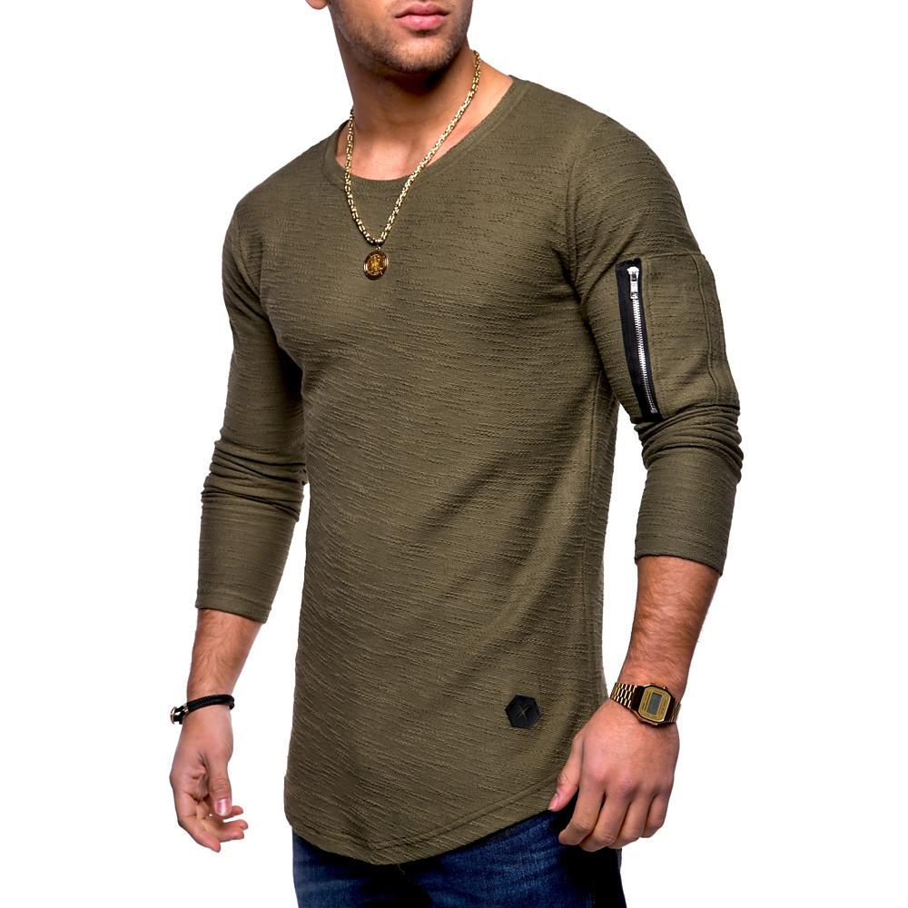 Men's Daily Weekend Basic Cotton T-shirt - Solid Colored Round Neck Black / Long Sleeve-Men-Weekly Top Deal