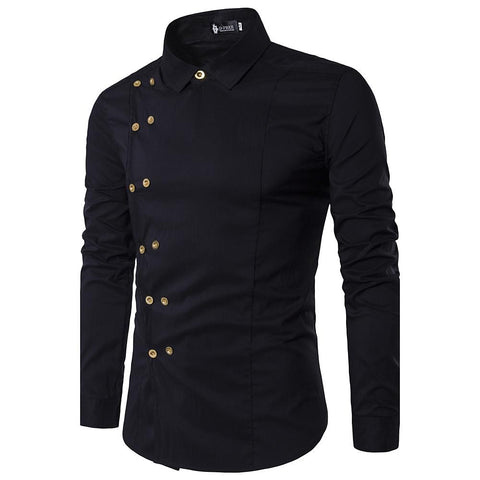 Men's Daily Weekend Casual Cotton Slim Shirt - Solid Colored Classic Collar Black-Men-Weekly Top Deal