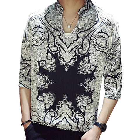 Men's Going out Casual / Daily Street chic / Elegant Shirt - Geometric / Graphic Print Standing Collar-Men-Weekly Top Deal