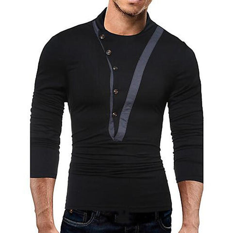 Men's Punk & Gothic / Military Cotton Slim T-shirt - Solid Colored-Men-Weekly Top Deal