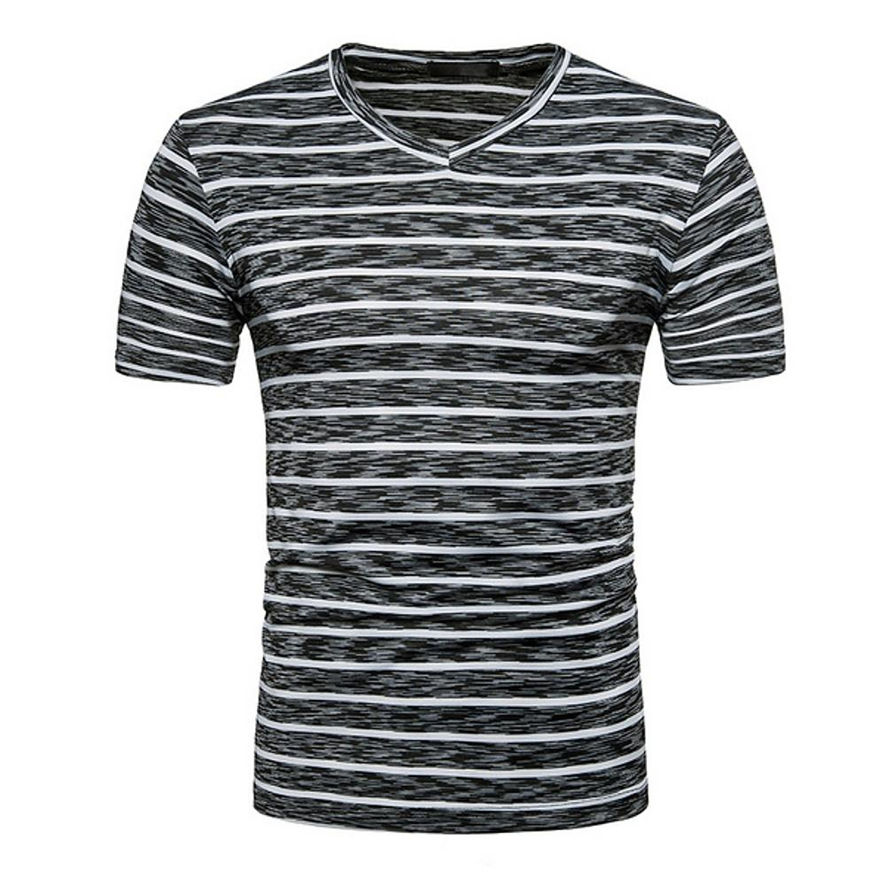Men's Size T-shirt - Striped V Neck-Men-Weekly Top Deal