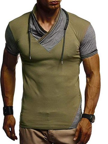 Men's Slim T-shirt - Color Block V Neck-Men-Weekly Top Deal