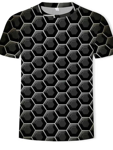 Men's T-shirt - 3D Print Round Neck-Weekly Top Deal