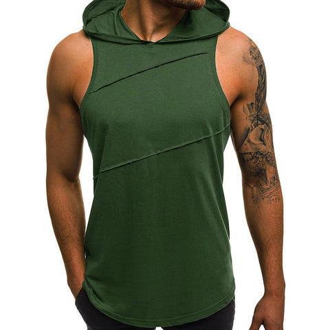 Men's T-shirt - Solid Colored Hooded White-Men-Weekly Top Deal