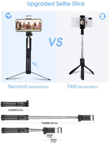 Mpow PA168 3 in 1 Selfie Sticks Tripod With Wireless Bluetooth Remote Control/Fill Light-Electronic-Weekly Top Deal