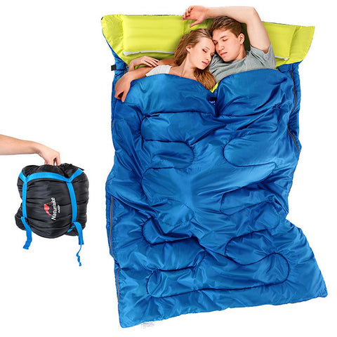 Nature Hiking Double Sleeping Bag with 2 Pillows Warm Moisture Proof-Outdoor Gear-Weekly Top Deal