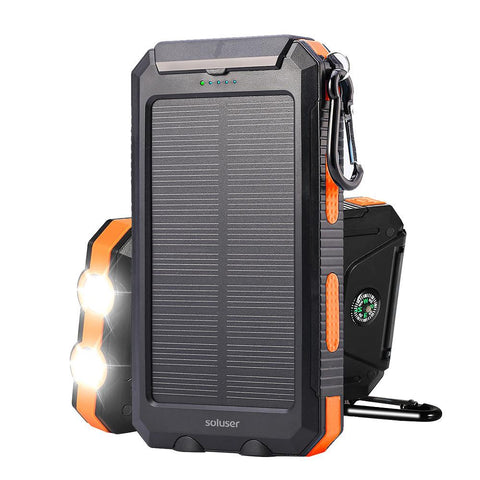 Solar Power Bank 10000mAh DC 5V 1A Solar charger Portable IP67 Waterproof Dual USB-Electronic-Weekly Top Deal