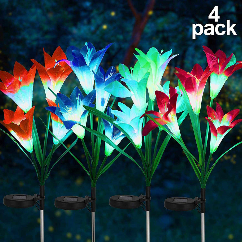 Solar-Powered Lily Stake Lights 4 Pack Solar Garden Stake Flower Lights,-Home Collection-Weekly Top Deal