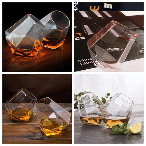 Tilting Whiskey Scotch Glass, Diamond Shape Liquor Snifter (10oz), Set of 4-Gift & Accessories-Weekly Top Deal