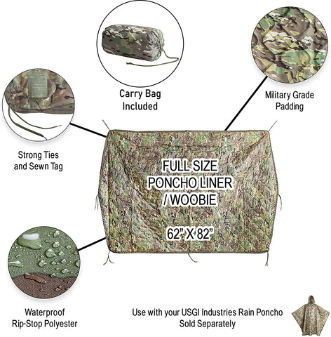 USGI Industries Military Camo All Weather Woobie Poncho Liner Blanket-Outdoor Gear-Weekly Top Deal