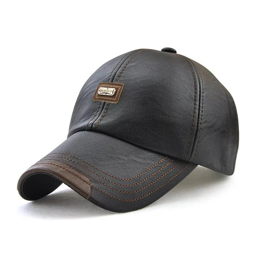Winter PU Leather Baseball Cap Mens Outdoor Sport Adjustable Golf Hats-Men-Weekly Top Deal