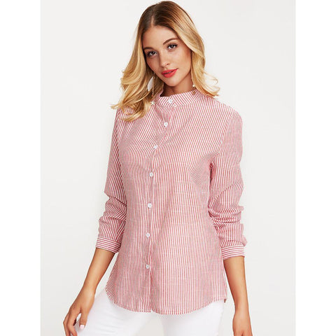 Women's Casual Shirt - Striped Dusty Rose Stand Fine Stripe-Women-Weekly Top Deal