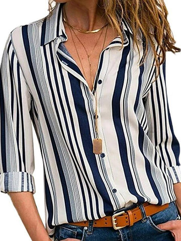 Women's Daily Basic Plus Size Shirt - Striped Shirt Collar White-Women-Weekly Top Deal