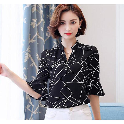 Women's Daily Shirt - Geometric Print V Neck-Women-Weekly Top Deal