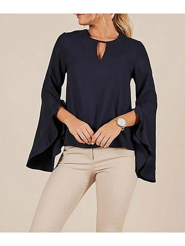 Women's Daily Skinny Blouse - Solid Colored Blue-Women-Weekly Top Deal
