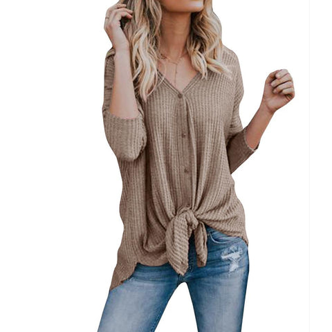 Women's Daily Weekend Street chic Cotton T-shirt - Solid Colored V Neck Gray-Women-Weekly Top Deal
