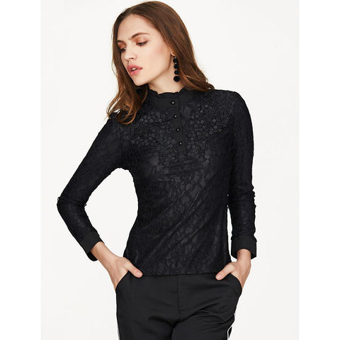 Women's Going out Street chic Shirt - Solid Colored Stand Black-Women-Weekly Top Deal