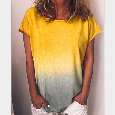 Women's Plus Size Slim T-shirt - Color Block Yellow-Women-Weekly Top Deal