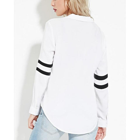 Women's Shirt - Solid Colored Shirt Collar White-Women-Weekly Top Deal