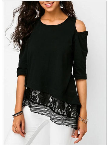 Women's Slim Shirt - Solid Colored Black-Women-Weekly Top Deal
