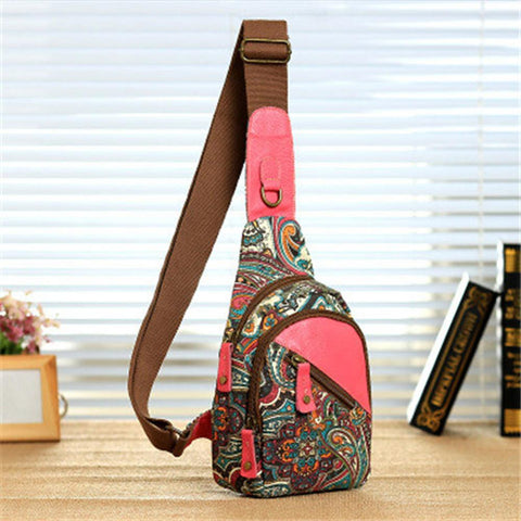 Women's Sling Shoulder Bag Canvas Bag Geometric Pattern Fuchsia-Outdoor Gear-Weekly Top Deal